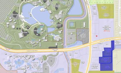 Highlighted in blue in the lower right, the three parcels where two hotels and a Dayclub pool are being planned, which lie southeast of Seaworld property.