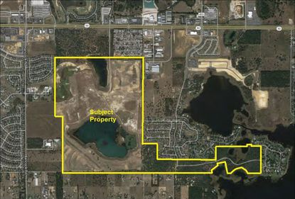Mattamy recently bought the land within these yellow lines for a yet unnamed subdivision. Approvals are under way to annex the 500-plus acres into the City of Clermont.