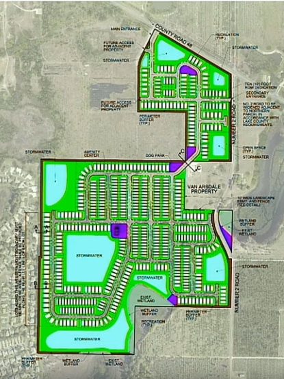 The PUD conceptual plan shows a mix of lot sizes, with the largest lots backing up to the Highland Lakes residents. The developer will maintain a 25-foot landscape buffer and build a six-foot wall to separate the communities.