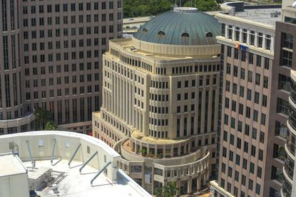 An elevated view of Orlando City Hall as seen from the Citrus Club.