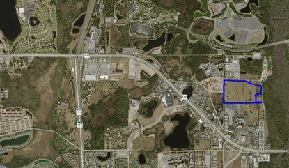 Plans for a vacation home resort on 53 acres just south of Disney's Animal Kingdom (outlined in blue) have been tied up in litigation since February.
