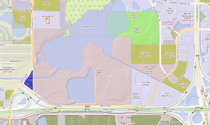Highlighted in blue are the 2.88 acres at McCoy and Conway roads, northwest of Orlando International Airport, where an affiliate of the Reddy family plans to build a Wyndham Garden hotel.