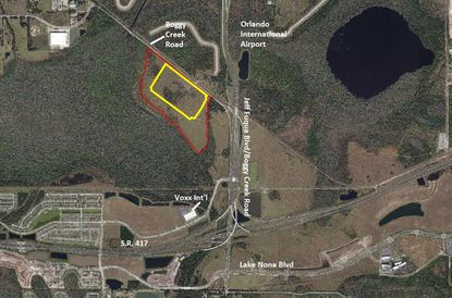 Outlined in red are 130.6 acres of Tavistock-owned land under contract to Seefried Industrial Properties, of which 58.48 acres (yellow) is planned as impervious area for development of an Amazon fulfillment center.