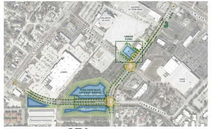 This photograph shows the Seminole County portion of the Oxford Road redevelopment area, including the reconstruction of Oxford Road from S.R. 436 to Fern Park Boulevard, and the extension of Fern Park Boulevard to U.S. 17-92. Several large buildings, including the former Orlando Jai-Alai fronton will be razed to make way for mixed-use development.