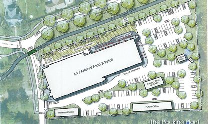 A conceptual site plan for The Packing Plant shows outdoor gathering space, a bicycle and golf cart lane and access to the 22-mile West Orange Trail.