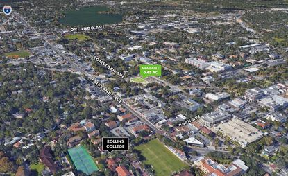"Highlighted in green is the 0.45-acre ""Blake Yard"" property on Comstock Avenue in Winter Park, a few blocks from Park Avenue, to be re-marketed for sale by the city."