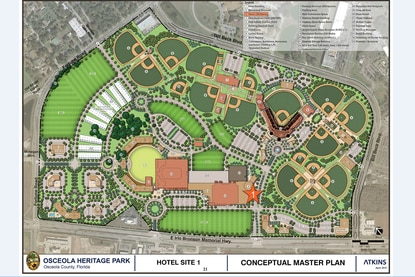 A conceptual master plan calls for a convention center hotel with parking deck, extensive retail and 8 new ballfields at Osceola Heritage Park.