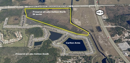 The owner/developer of this 84-acre tract on Cypress Gardens Boulevard at U.S. 27 is seeking a PUD zoning for commercial uses and up to 500 apartments.