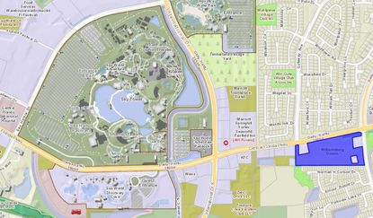 Highlighted in blue is the Williamsburg Downs Shopping Center on Central Florida Parkway, just east of International Drive and SeaWorld.