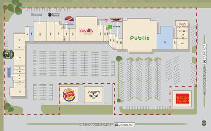 Outlined in red on this marketing site map is the majority of the Good Homes Plaza retail center in Ocoee at the corner of Good Homes Road and W. Colonial Dr., which sold on Friday.