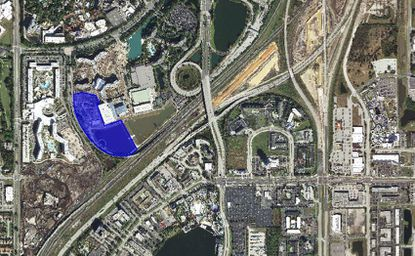 Highlighted in blue is the 12.98-acre parcel on Adventure Way owned by Universal Orlando, where newly filed plans with the city indicate a 600-room hotel could be built. The property lies directly south/southwest of the new Sapphire Falls Resort. Cabana Bay Beach Resort lies directly west of the parcel, and the new Volcano Bay water park southwest of the site.