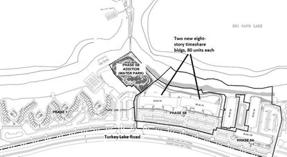This snapshot from the latest Westgate Lakes Resort development plan shows a new water park amenity proposed next to the two new timeshare buildings that have been under construction.
