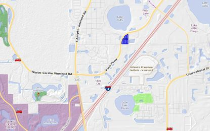 Highlighted in blue in the middle of the map, the parcels reserved for a dual-brand hotels project lie on Palm Parkway, just south of Lake Ruby and roughly two miles northeast of Walt Disney World.
