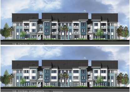 Tavistock opted for suburban-style mid-rise apartments in the Village Center on Narcoossee road. These will be the first apartments built on the Poitras expansion of Lake Nona.