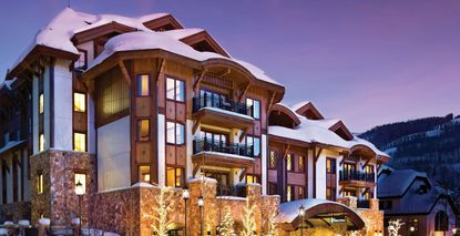 Partial view of The Sebastian resort hotel and private residence club in Vail, Colorado.
