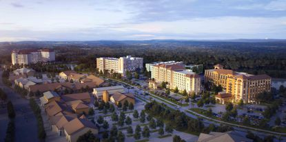 Renderings of the planned 223-room Residence Inn by Marriott, 273-room Fairfield Inn by Marriott, 229-room Homewood Suites by Hilton, and 272-room Home 2 Suites by Hilton.