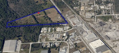 ZF Property Developers owns the 34-acre site outlined in blue on Polk County's Decker Highway industrial corridor.