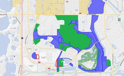 Highlighted in green are the approximately 575 acres owned by Universal Orlando affiliates prior to this week, mostly east of Universal Boulevard, south of Sand Lake Road and north of Destination Parkway. Highlighted in blue is land owned by affiliates of Thomas Enterprises, the amount of which Universal acquired is unconfirmed. Outlined in red are four parcels owned by Thomas' OHL Holdings that weren't included in the April 11 sale.