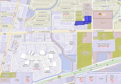 Highlighted in blue are roughly 8 acres with access off of Winegard Road, in the 700 block of W. Sand Lake Road and northeast of the Florida Mall, that are planned for 180 multifamily units.