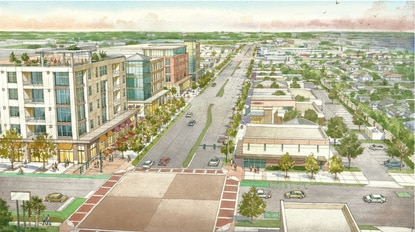 This conceptual rendering shows the rebuilt Orange Avenue with urban mid-rise, mixed-use buildings transitioning to single-story commercial buildings.