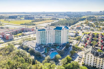 The 14-story, 400-room Crowne Plaza Orlando Universal Hotel sold at a bankruptcy auction for $35.7 million.