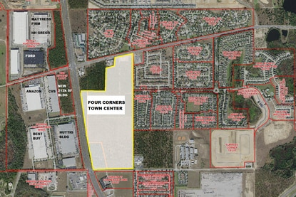 The Four Corners Town Center is planned at the southeast corner of U.S. 27 and Ronald Reagan Parkway. Seefried Industrial Properties wants to build a 1.5 million square feet of distribution warehouse district.
