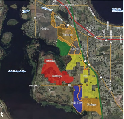 BTI Partners, which already owns Edgewater East (yellow), is under contract to buy Edgewater West (red), bringing its land holdings east of Lake Toho to more than 2,600 acres.