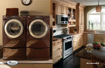 Kitchen and laundry room appliances on display in marketing images from Aggressive Appliances.