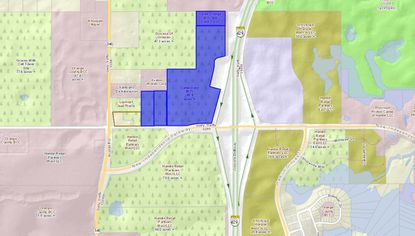 Outlined in blue are the approximately 61 acres acquired Tuesday for a 285-lot single-family home development planned for eventual lot sale to homebuilder affiliates of NVR.
