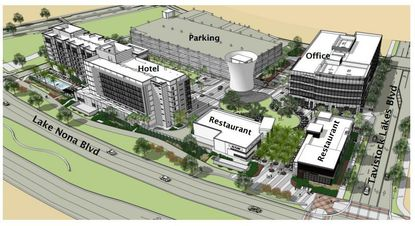 A rendering of the layout of the Phase 1 development of Lake Nona Town Center, which opened in Fall 2015 and includes the 85,000-square-foot office building on Tavistock Lakes Boulevard.