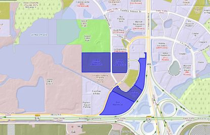 Highlighted in blue are the six parcels totaling roughly 64 acres that are set to be acquired through an auction process, which lie west of Semoran Boulevard and north of the Beeline Expressway, north of Orlando International Airport.