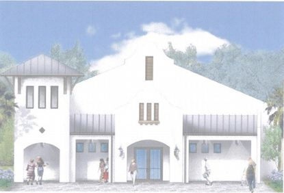 A conceptual elevation rendering of the front entry to a new gun range proposed in Lady Lake, near The Villages.