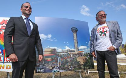 Joshua Wallack and his father David Wallack, announced onJune 5, 2014, plans to develop the world's tallest rollercoaster (The Skyscraper polercoaster), and the Skyplex entertainment complex. The architectural plans at this time did not include Perkins restaurant.