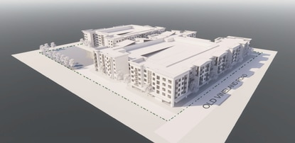 These 3D elevations show the potential mixed-use building that would front on Old Vineland Road, with the senior apartment building behind it.