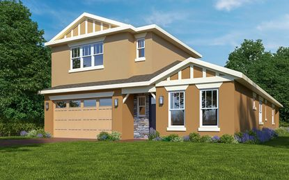 Jones Homes USA will offer 10 floorplans, including this 2-story Wilford model, at Harmony West and the active adult Lakes at Harmony. All homes will have brick pavered driveways, walkways and patios.