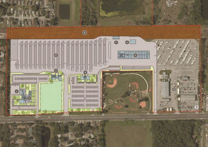 An early aerial rendering of how the OCPS Pine Hills Bus Compound (97 acres) will be redeveloped at 5140 N. Pine Hills Road.