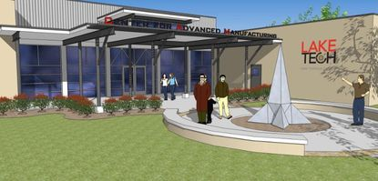 A rendering of the expanded campus for Advanced Manufacturing at Lake Tech.