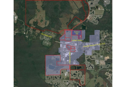 The Employment Center surrounding Osceola County's Poinciana SunRail station is highlighted in purple. Rj Whidden and Associates landed the deal to master plan the county's 82-acre site by highlighting the various projects it had already worked on in Poinciana, all outlined in red.