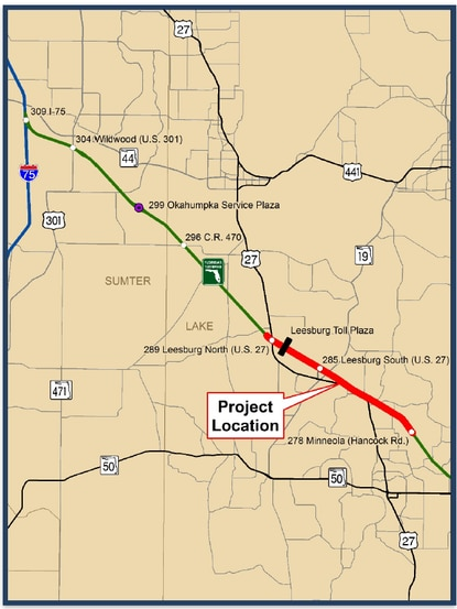 This project widens a ten-mile portion of Florida's Turnpike from Minneola to US 27. This widening will increase the number of travel lanes from four to eight. These new lanes will be express lanes.