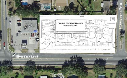 An aerial view with the site plan for the 18,000-square-foot business plaza being proposed at 1414 E. Silver Star Rd.
