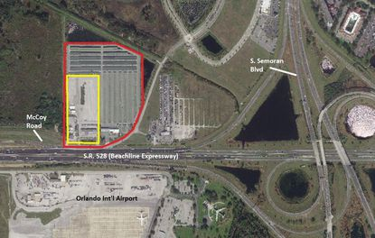 Outlined in red is the footprint of Fast Park & Relax, north of Orlando International Airport. In yellow is a 7-acre parcel the company wants to annex into the city of Orlando, and expand the parking business on to.