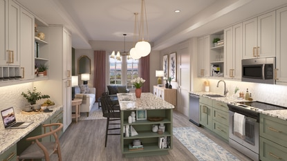 Designer upgrades, like two-toned cabinets, kitchen islands, modern lighting, gold-tone hardware and 10-foot ceilings will come standard at Cortland Colburn in Celebration's Island Village.