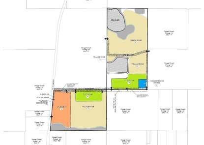 Horizon West founder Jim Karr is seeking to rezone 134 acres of citrus groves in the community's last active village. The plan calls for a mix of single family homes (tan), apartments (orange), townhomes (green) and some neighborhood retail (blue).