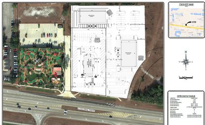 Outlined in white are the roughly 3 acres fronting E. Colonial Drive, south of the UCF campus area, where Park Square Homes is planning retail/dining pads to support a new apartment community to its north.
