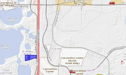 The proposed new off-ramp along I-4W would be in front of Orlando Health's Dr. P Phillips Hospital (highlighted in blue).