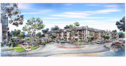 A rendering of the multifamily portion of the 350-unit Town Maitland at Trelago, planned by The Related Group.