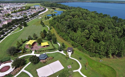 Harmony encompasses 11,000 acres, including two private lakes, an established network of parks and trails, and a golf course.