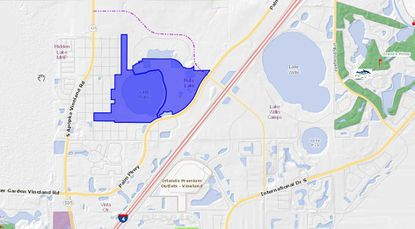 Highlighted in blue, parcels under contract for purchase by Unicorp to be developed into the Ruby Lake Estates project.