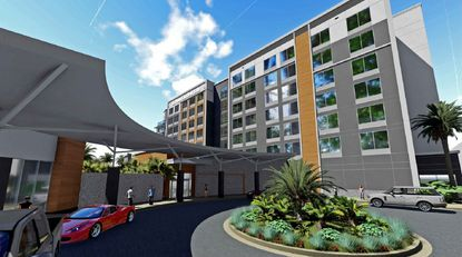 A rendering of the exterior view for Auro Hotel's proposed Hilton Garden Inn hotel.