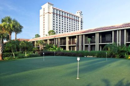 A view from the putting green of the Doubletree Hilton at SeaWorld, acquired by New York-based AWH Partners on May 19.